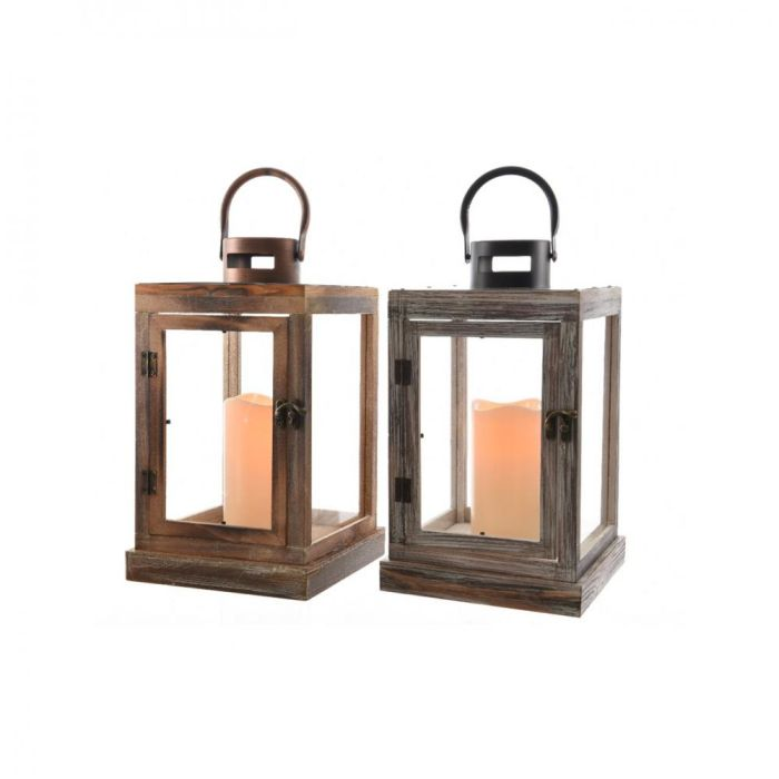 Picture of Verona Led Wooden Lanterns - 34cm 2 Assorted