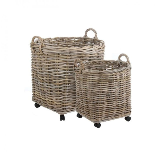 Picture of Marcia Set Of 2 Round Baskets On Wheels