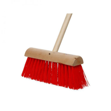 """Picture of 13"""" Yard Brush Green / Red C/W Handle"""