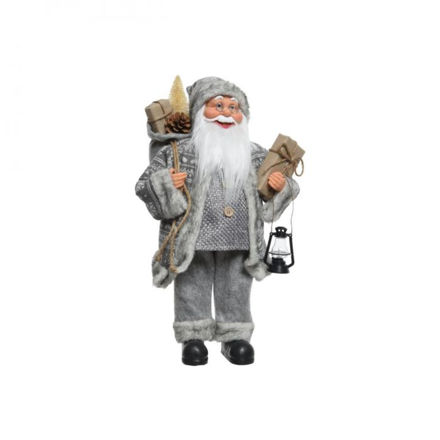 Picture of Grey Plush Santa with Lamp  - 60cm