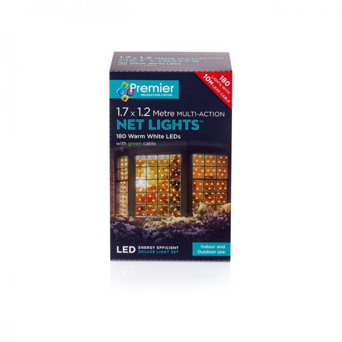 Picture of 180 LED Multi-Action Net Lights Warm White - 1.75m x 1.2m