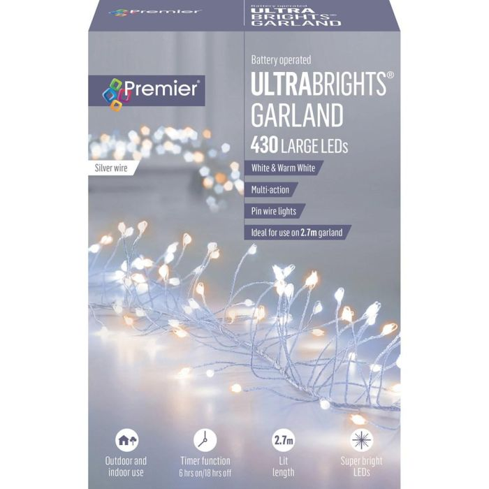 Picture of Premier 430 B/O LED M-Action Ultrabrights Garland - White/Warm White