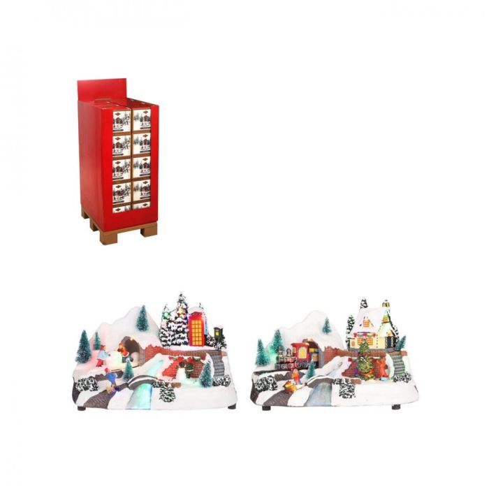 Picture of LED Battery Operated Snowy Village Scene 2 Assorted - 18.5cm