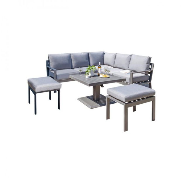 Picture of Titchwell Corner Dining Set with Glass Adjustable Height Table