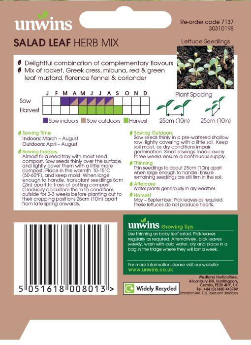 Picture of Unwins Salad Leaf Herb Mix