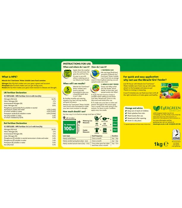 Picture of 1kg  Miracle Gro Lawn Food
