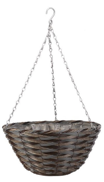 """Picture of 14"""" Faux Rattan Hanging Basket Pinto"""