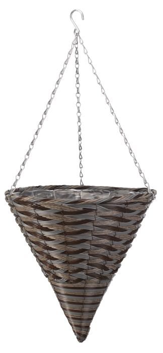 """Picture of 14"""" Faux Rattan Hanging Cone Pinto"""