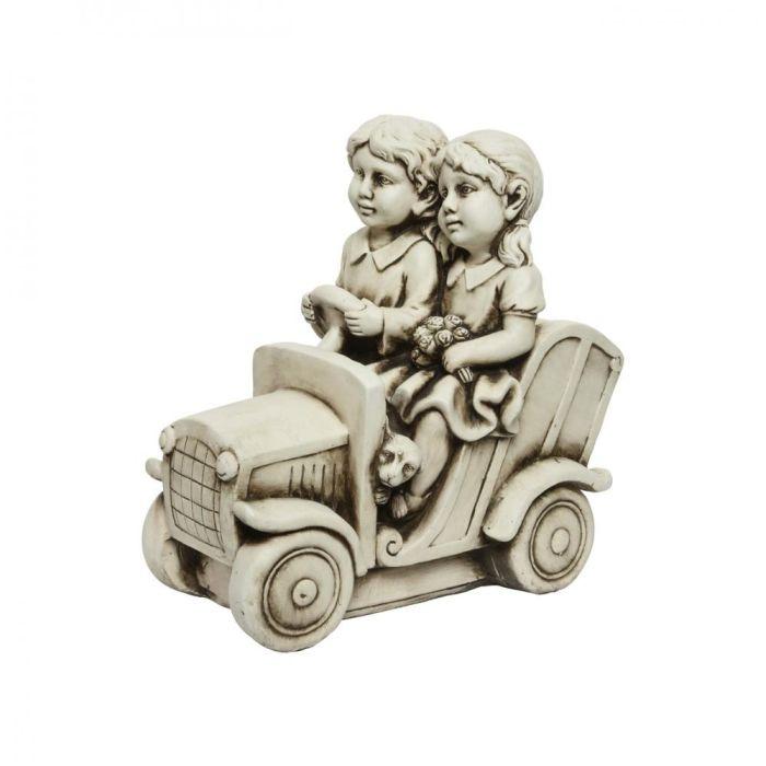 Picture of Children in Car Garden Ornament - 46cm