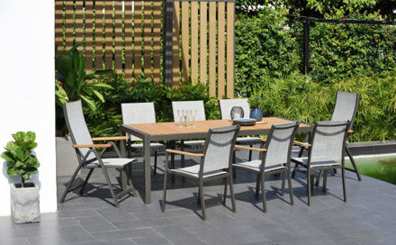 Picture of Salomon 8 Seater Set 209cm Rectangular Table, 2 Reclining Chairs And 6 Carvers