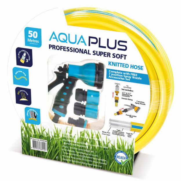 Picture of Aquaplus Professional 50M Yellow Knitted Fitted Hose