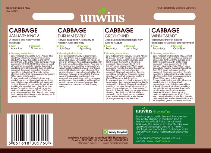 Picture of Unwins Cabbage All Season Col Pk