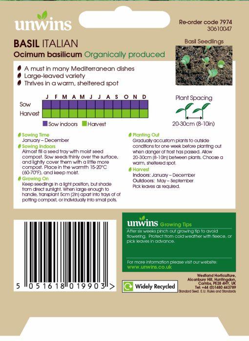 Picture of Unwins Herb Basil Italian Organic