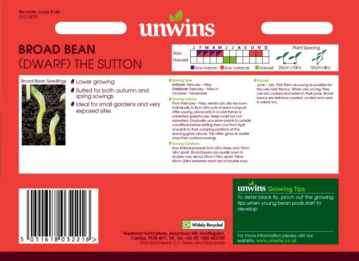 Picture of Unwins Broad Bean Dwarf The Sutton