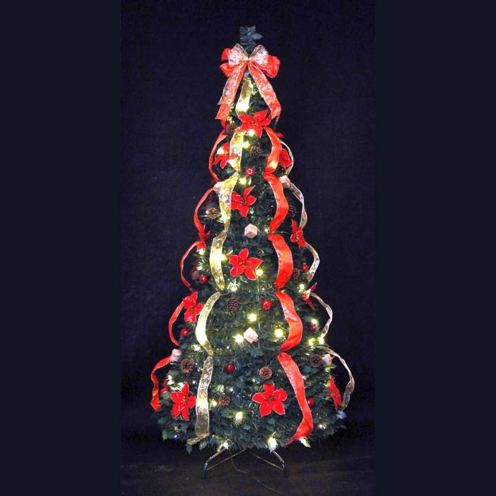 Picture of Jingles Pre-Lit Traditional Holly Dressed Pop-Up Tree - 6ft