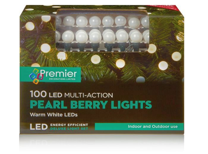 Picture of Premier 100 LED Multi-Action Pearl Berry Lights -  Warm White