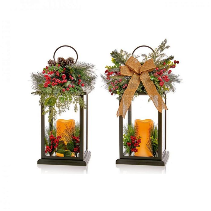 Picture of Lit Floral Lantern with LED Candle & Ribbon - 2Assorted - 64cm