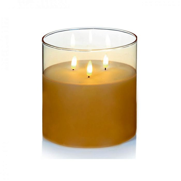 Picture of Rose Gold Glass Cup Triple Flickabright Candle - 15cm x 15cm
