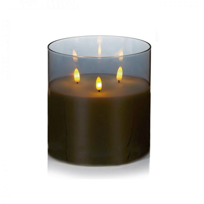 Picture of Grey Glass Cup Triple Flickabright Candle - 15cm x 15cm