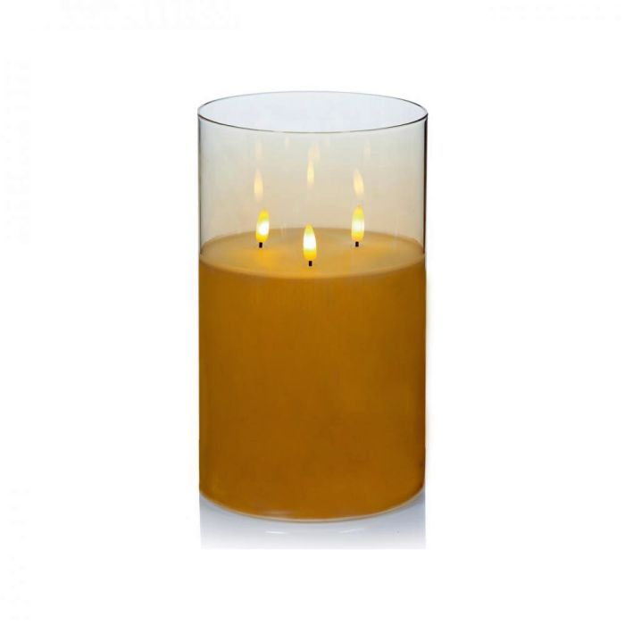 Picture of Rose Gold Glass Cup Triple Flickabright Candle - 15cm x 23cm