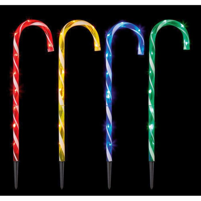 Picture of Set of 4 Multi-Coloured Candy Cane Path Lights - 62cm