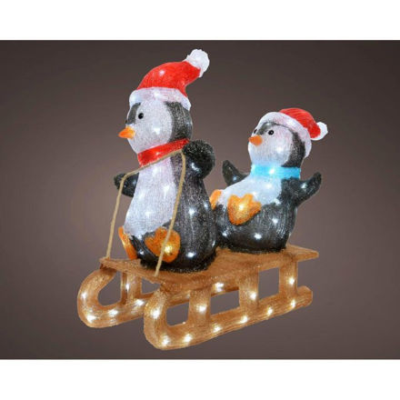 Picture of LED Acrylic Penguins on Sleigh - 56.5cm