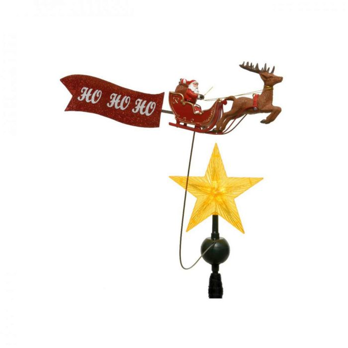 Picture of LED Santa's Sleigh Animated Tree Topper with Banner