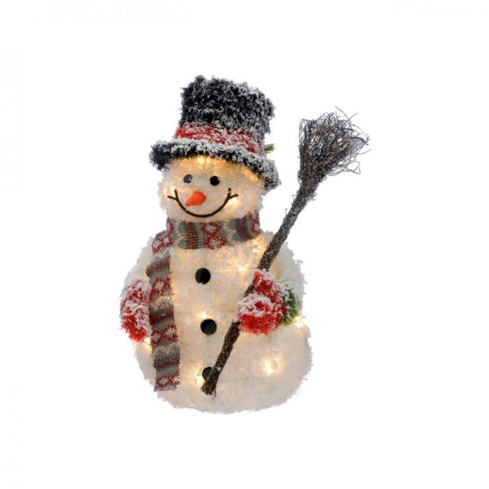 Picture of LED Lit Tinsel Snowman with Broom - 50cm