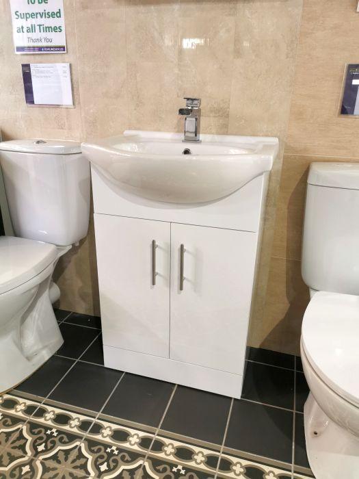 Picture of Floor Standing Vanity Unit & Wash Basin White - 55cm