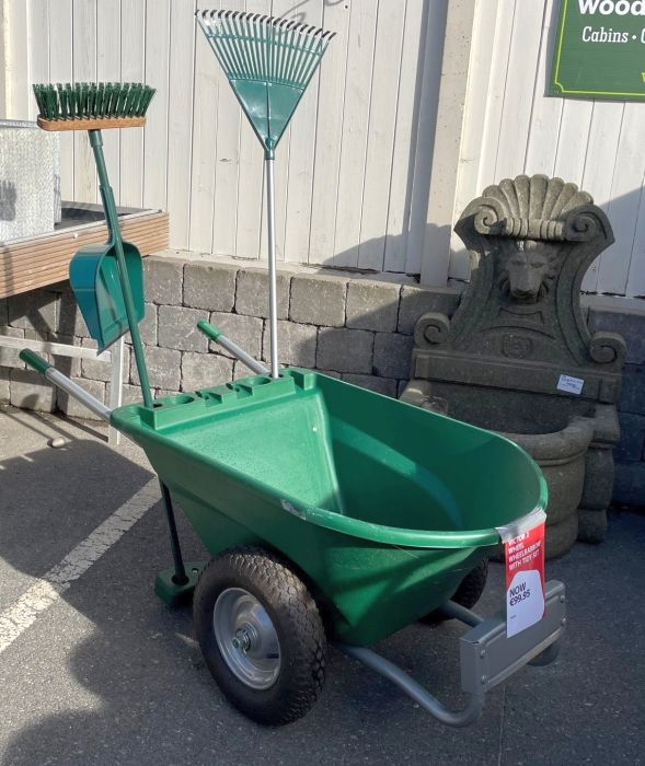 Picture of 2 Wheel Utility Wheelbarrow c/w Garden Tidy Set (Rake, Brush & Dustpan)