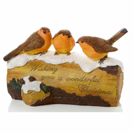 Picture of 20cm 3 Robins On Log